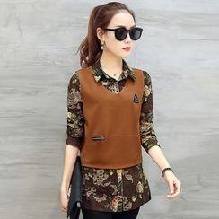 Cacao Lark - Set: Floral Shirt + Vest