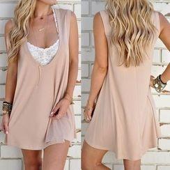 Flobo - Sleeveless Plain Dress