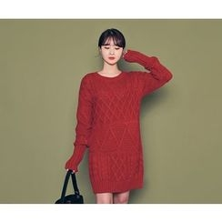 HOTPING - Round-Neck Cable Knit Mini Dress