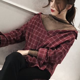 AMELA - Lace Panel Plaid Long-Sleeve Top