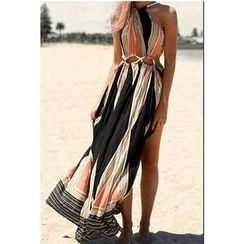 Fundae - 图案挂脖领沙滩裙