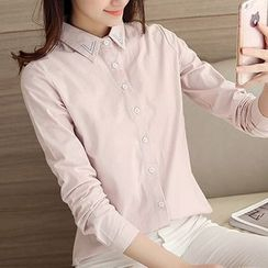 Cobogarden - Embroidered Long-Sleeve Blouse
