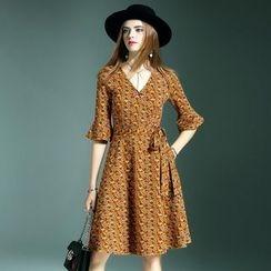 Queen Mulock - Printed Ruffled A-Line Dress