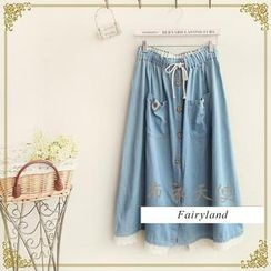 Fairyland - Lace-Trim Denim Long Skirt