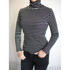 STYLEBYYAM - Turtle-Neck Striped T-Shirt
