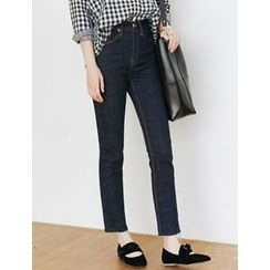 FROMBEGINNING - Stitched Straight-Cut Jeans