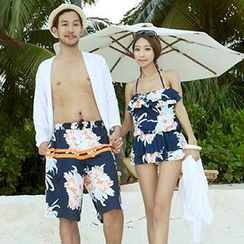 Roseate - Couple Matching Floral Print Halter Swimdress / Swim Trunks