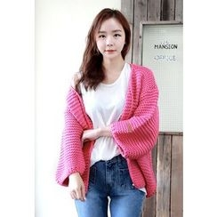 Dalkong - Balloon-Sleeve Open-Front Cardigan