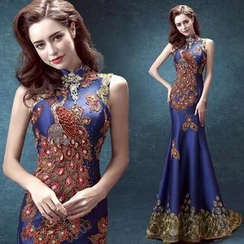 Angel Bridal - Sleeveless Embroidered Phoenix Cheongsam