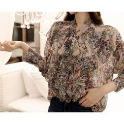 Marlangrouge - Tie-Neck Ruffled Chiffon Blouse