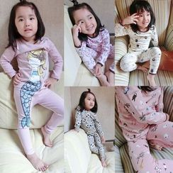 Happy Lala - Kids Pajama Set: Long-Sleeve Printed Top + Printed Pants