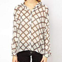 Richcoco - Print Dip Back Chiffon Shirt
