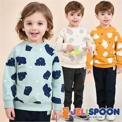 JELISPOON - Kids Set: Bear Print Sweatshirt + Pants