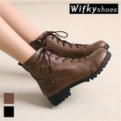 Wifky - Faux-Fur Lined Lace-Up Ankle Boots