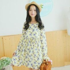 Sens Collection - Long-Sleeve Floral Chiffon Dress
