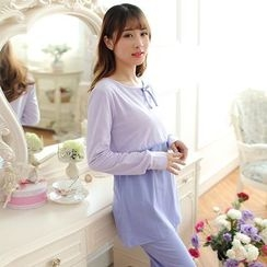 The Mommy Club - Maternity Pajama Set : Panel Nursing Top + Pants