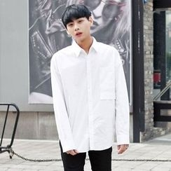 TOMONARI - Dip-Back Pocket-Front Cotton Shirt