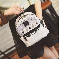 Secret Garden - Studded Convertible Faux Leather Backpack