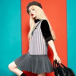 ELF SACK - Sleeveless Paneled Striped Dress