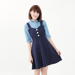 Tokyo Fashion - Sleeveless Striped Buttoned Dress