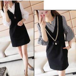Oaksa - V-neck Mock Two-piece Elbow-Sleeve Dress