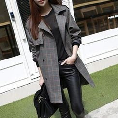 chome - Check Double-Breasted Trench Coat