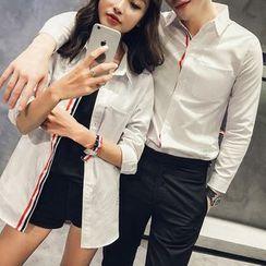 Evolu Fashion - Couple Matching Stripe Trim Shirt