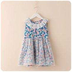 Rakkaus - Mesh-Trim Floral Dress