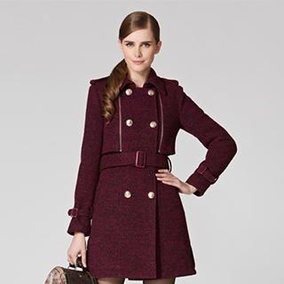 O.SA - Wool Blend Double-Breasted Flap Coat