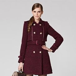 O.SA - Wool Blend Double-Breasted Flap Coat