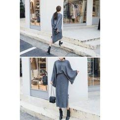 migunstyle - Set: Bell-Sleeve Ribbed Knit Top + Tie-Detail Midi Skirt