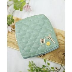 Miss21 Korea - Charm Quilted Faux-Leather Pouch