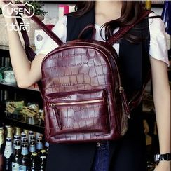 Youshine - Croco-Grain Patterned Backpack