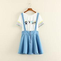 Mushi - Denim Suspender Skirt