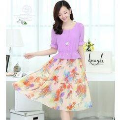 Sienne - Short-Sleeve Mock Two Piece Floral Midi Dress