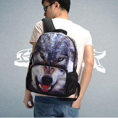 Bistar - Wolf Printing Large Zipper 17 inch Backpack