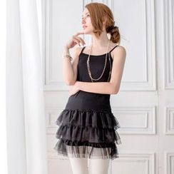 Tokyo Fashion - Sleeveless Tulle Layered Long Top