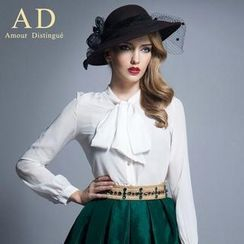 Aision - Long-Sleeve Bowed Blouse