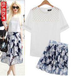 ELEZUN - Set: Mesh Panel Beaded Top + Floral Pleat Skirt