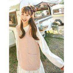 LOLOten - Set: Sleeveless Knit Top + Polka-Dot Dress
