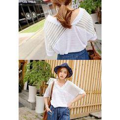 REDOPIN - V-Neck Stripe T-Shirt