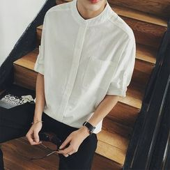 JUN.LEE - 3/4-Sleeve Linen Shirt
