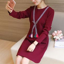 Colorful Shop - Long-Sleeve Bow-Accent Dress