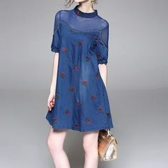 Alaroo - Embroidered Elbow-Sleeve Dress