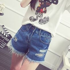 Nassyi - Frayed Distressed Denim Shorts