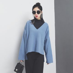 Sonne - 前短后长开叉V领针织毛衣