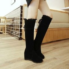 CITTA - Lace Trim Over-the-knee Boots