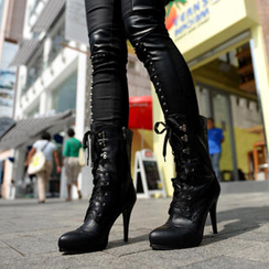 SO Central - Lace Up High-Heel Boots