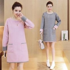 Ceres - Maternity Long-Sleeve Color Block Dress
