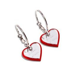 Sweet & Co. - Red Glitter Sweet Heart Mirror Hoop Earrings